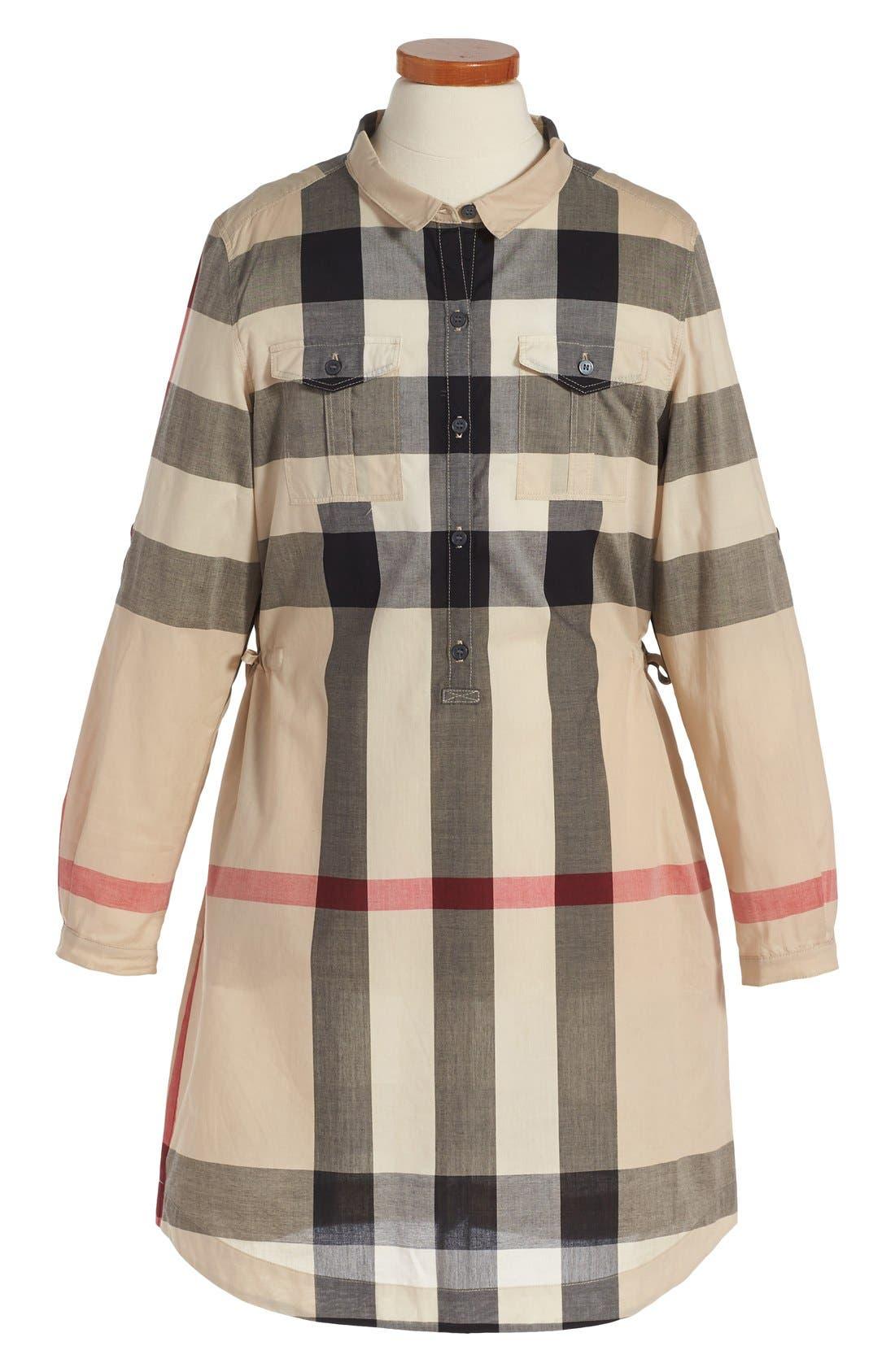 Alternate Image 1 Selected - Burberry 'Darielle' Check Print Dress (Little Girls & Big Girls)