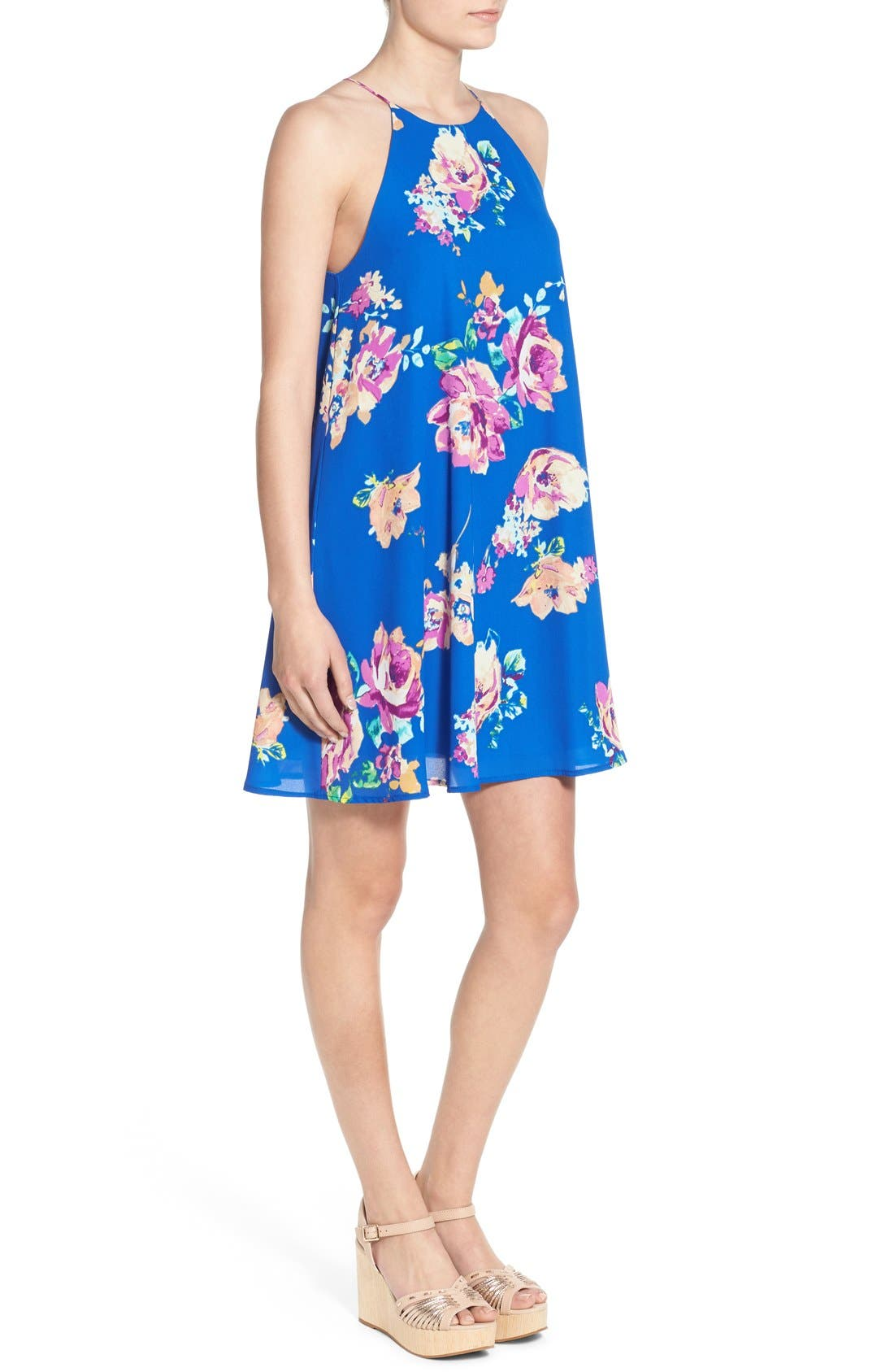 Alternate Image 3  - Everly Floral Print High Neck Trapeze Dress