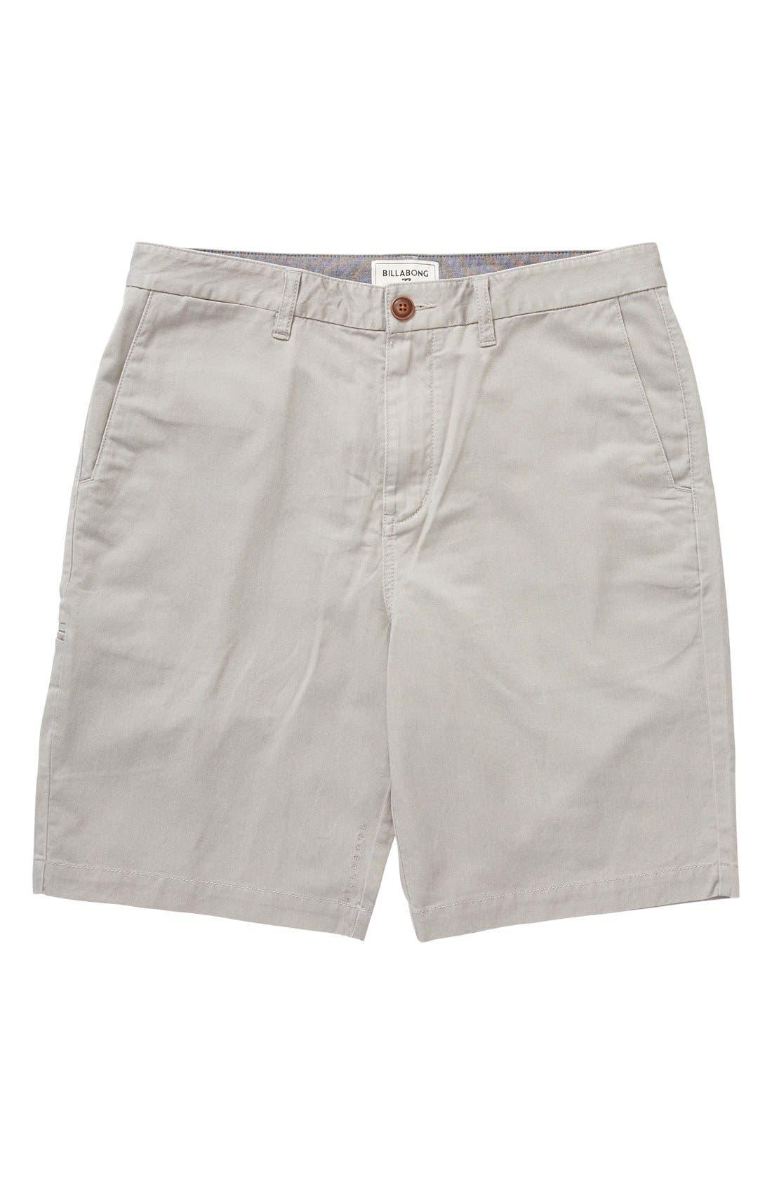'Carter' Cotton Twill Shorts,                             Main thumbnail 1, color,                             Grey Heather