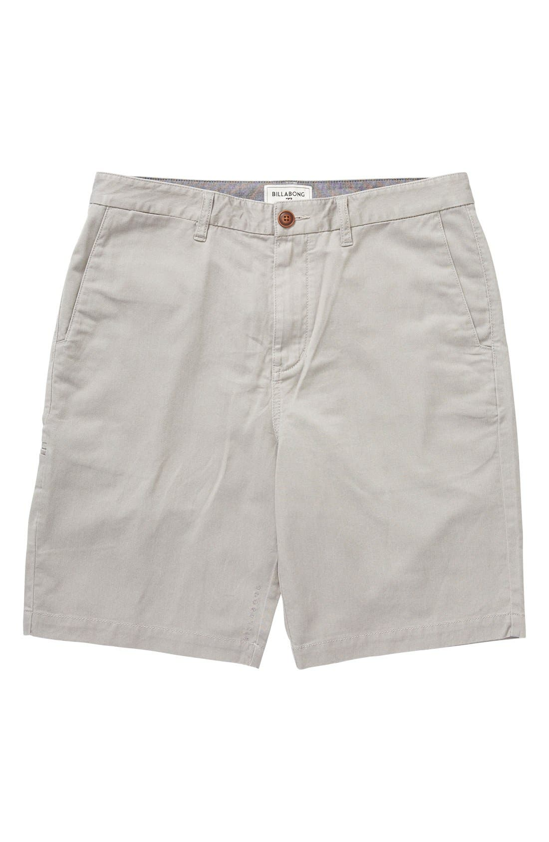 'Carter' Cotton Twill Shorts,                         Main,                         color, Grey Heather