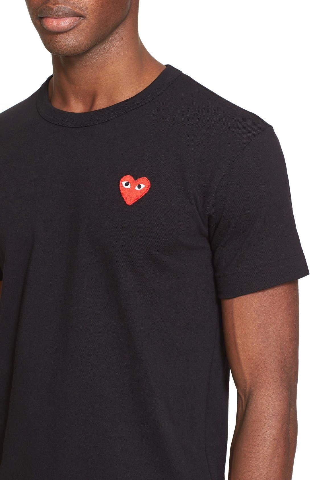 Comme des Garçons PLAY Cotton Jersey Crewneck T-Shirt,                             Alternate thumbnail 4, color,                             Black