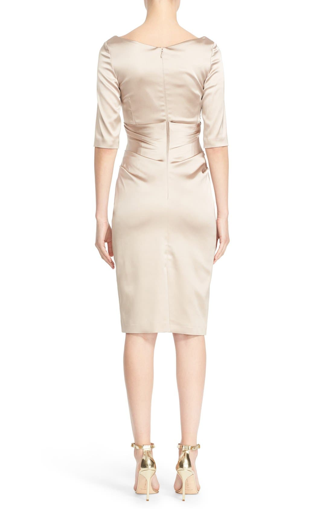 Portrait Neck Stretch Satin Sheath Dess,                             Alternate thumbnail 2, color,                             Beige