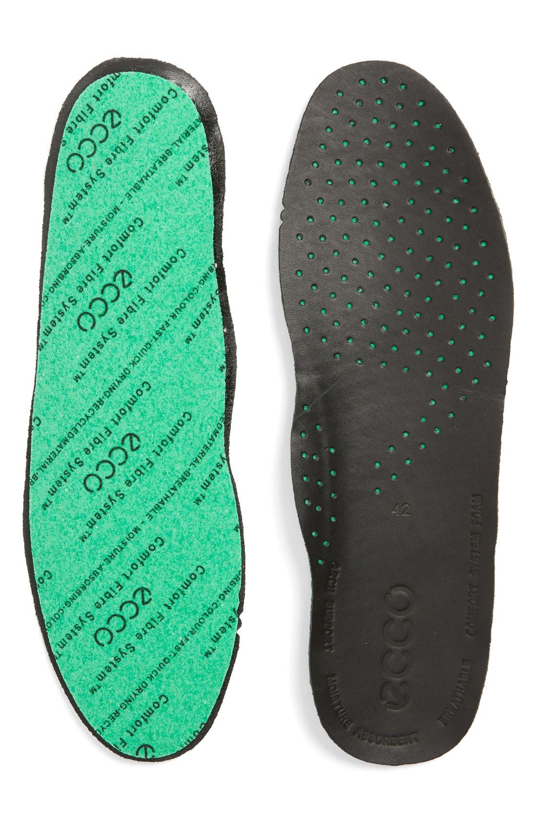 Comfort Fiber Leather Insole,                             Main thumbnail 1, color,                             Black