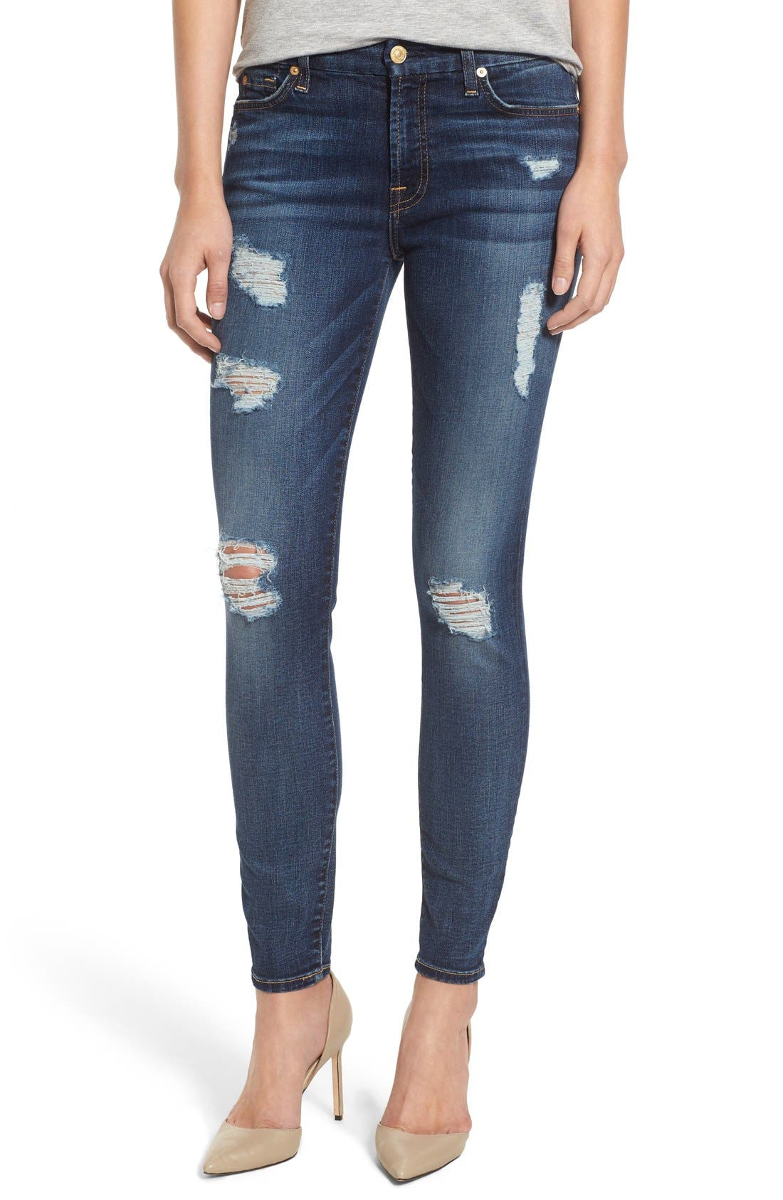 Alternate Image 1 Selected - 7 For All Mankind® Destroyed Skinny Jeans (Dark Vintage Blue)