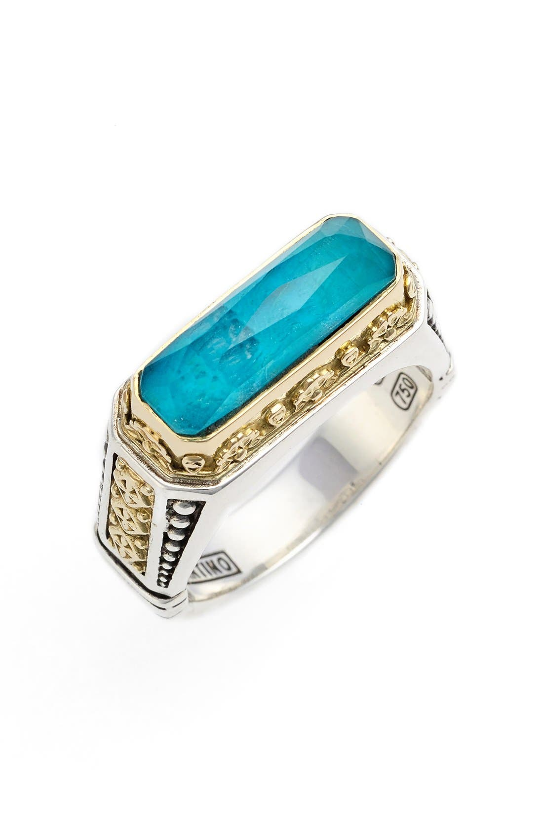 'Iliada' Etched Ring,                         Main,                         color, Blue/ Green