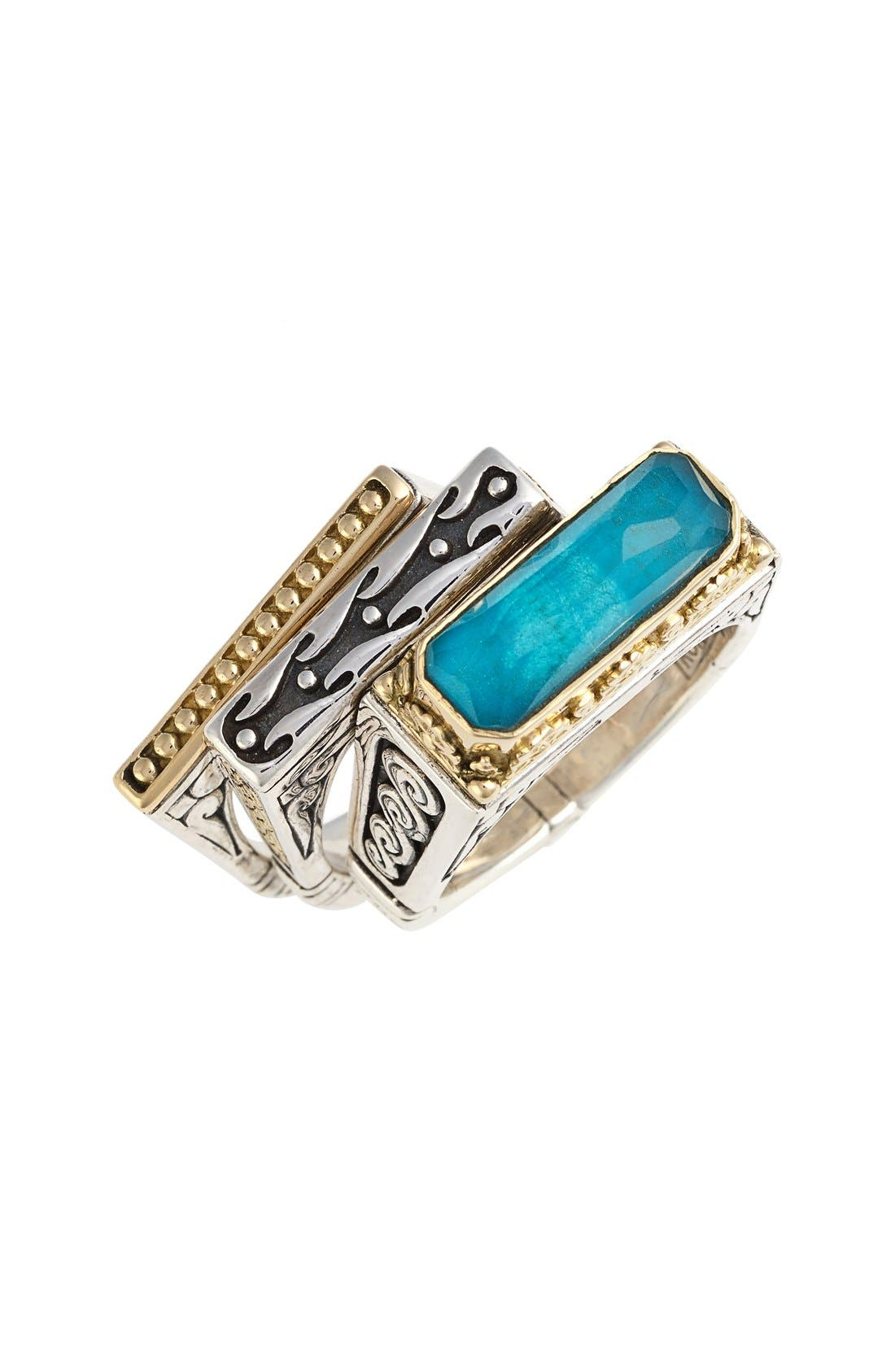 'Iliada' Stacking Doublet Rings,                             Main thumbnail 1, color,                             Blue/ Green