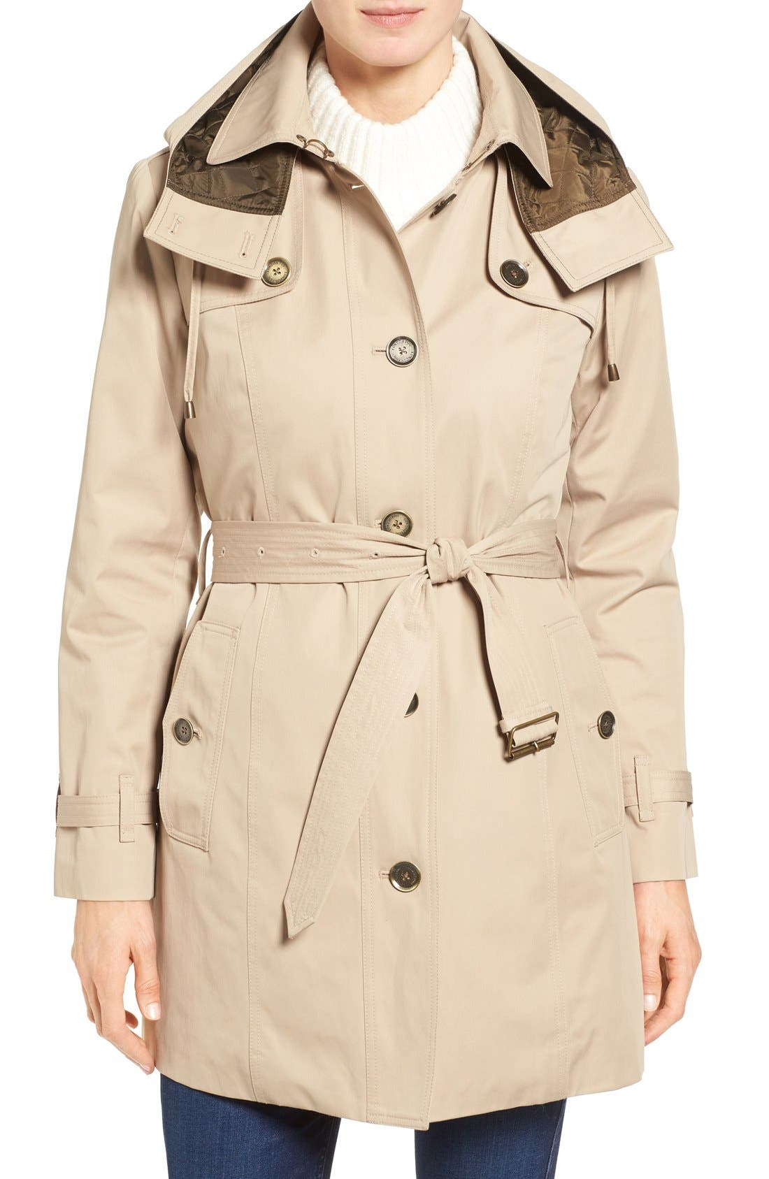 London Fog Single Breasted Trench Coat (Regular & Petite)