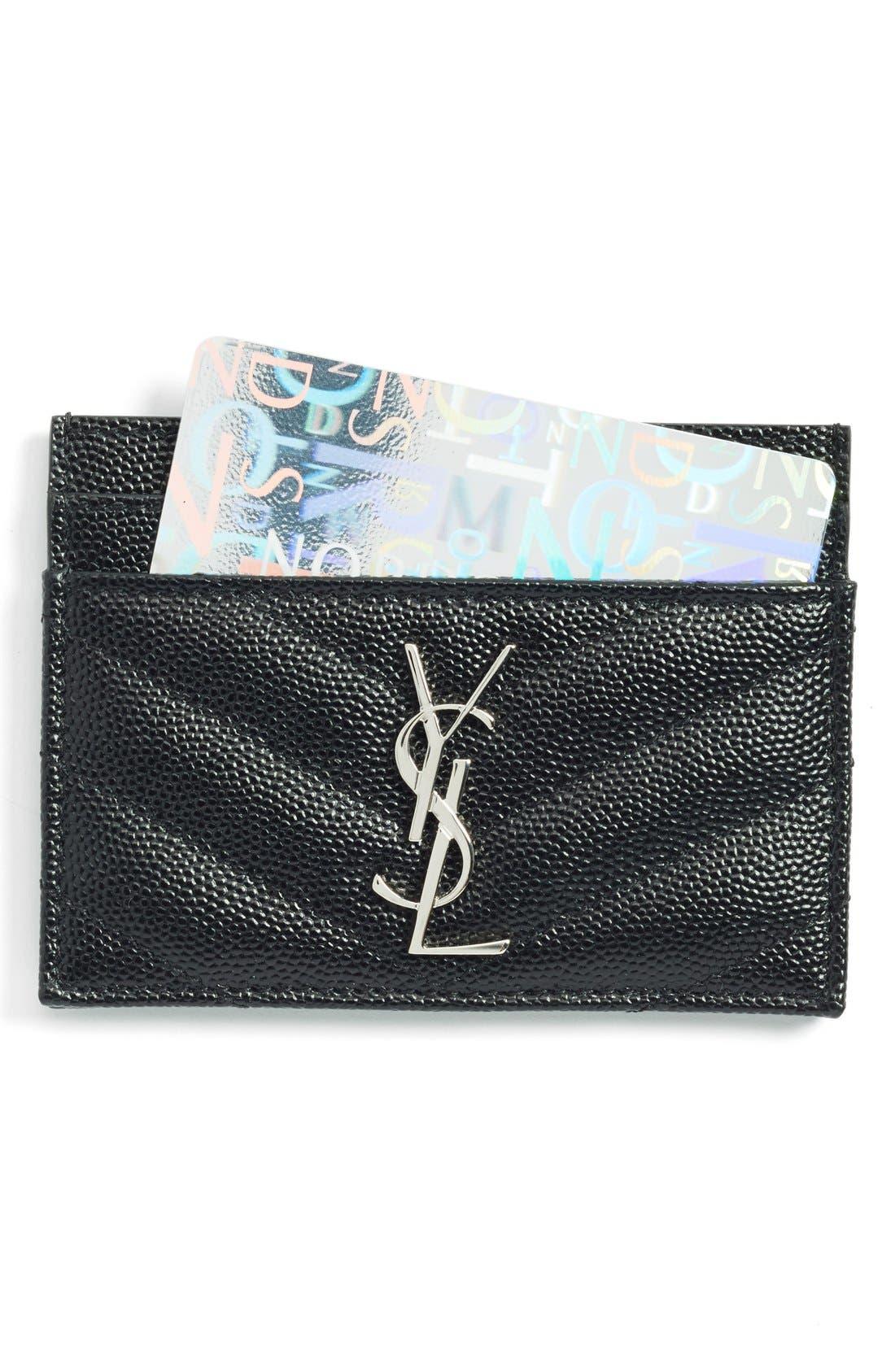 Main Image - Saint Laurent 'Monogram' Credit Card Case