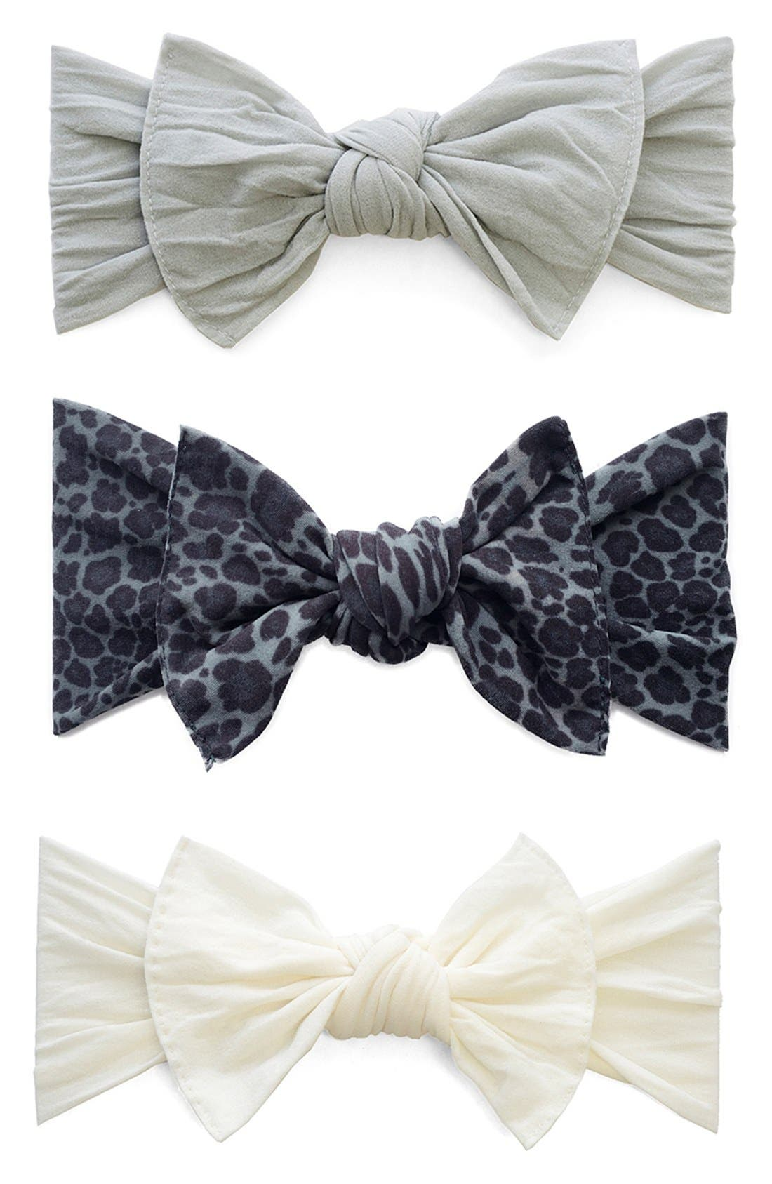 Alternate Image 1 Selected - Baby Bling Bow Stretch Headband (3-Pack) (Baby Girls)