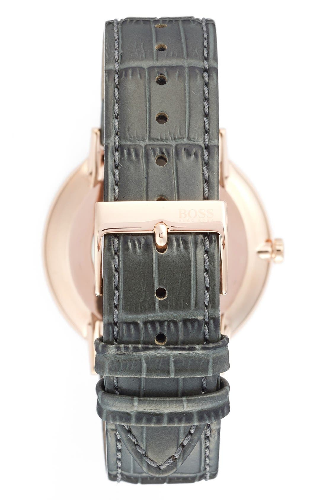 Alternate Image 2  - BOSS Ultra Slim Leather Strap Watch, 40mm