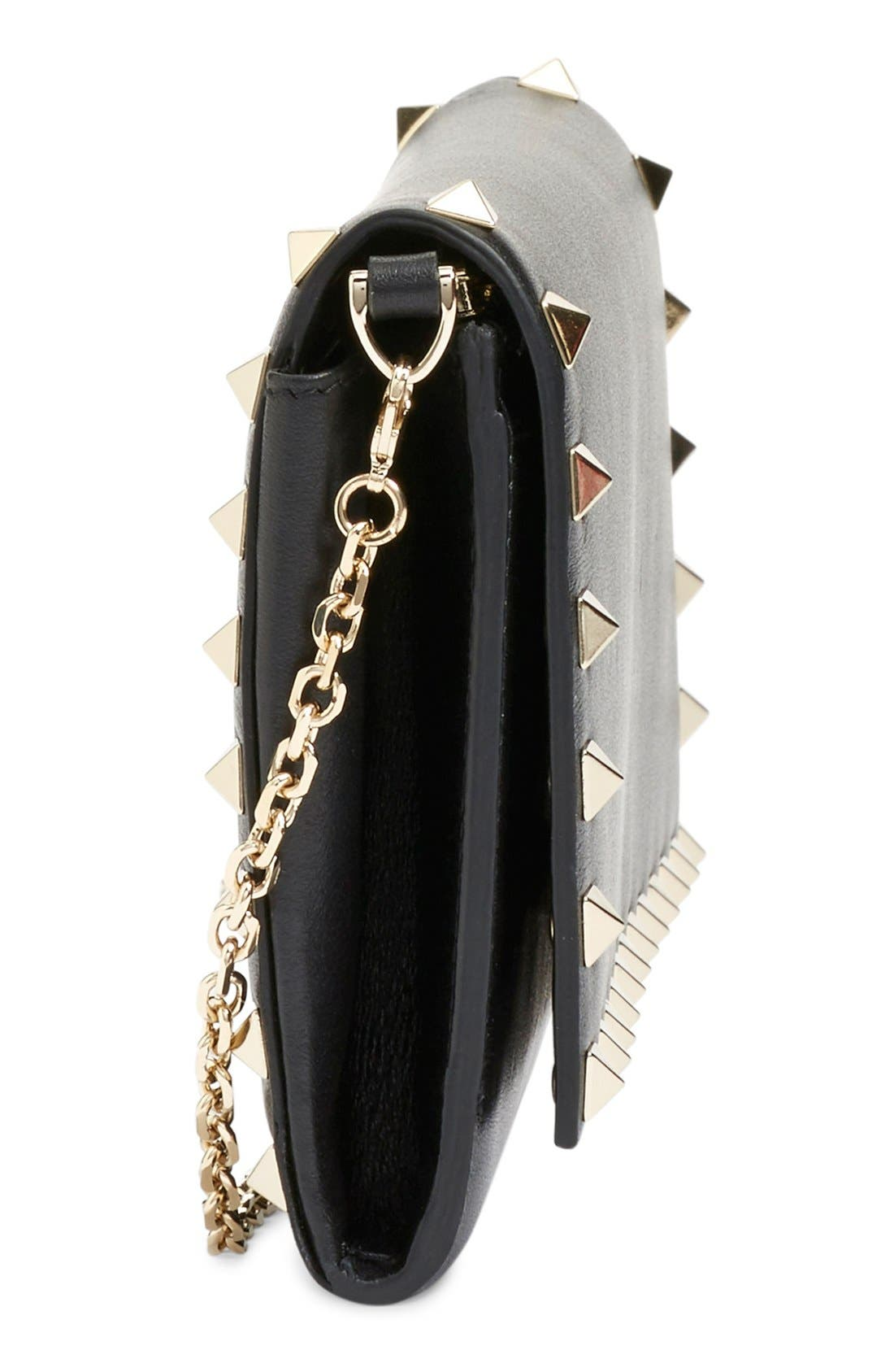 Alternate Image 3  - Valentino 'Rockstud' Calfskin Leather Wallet on a Chain