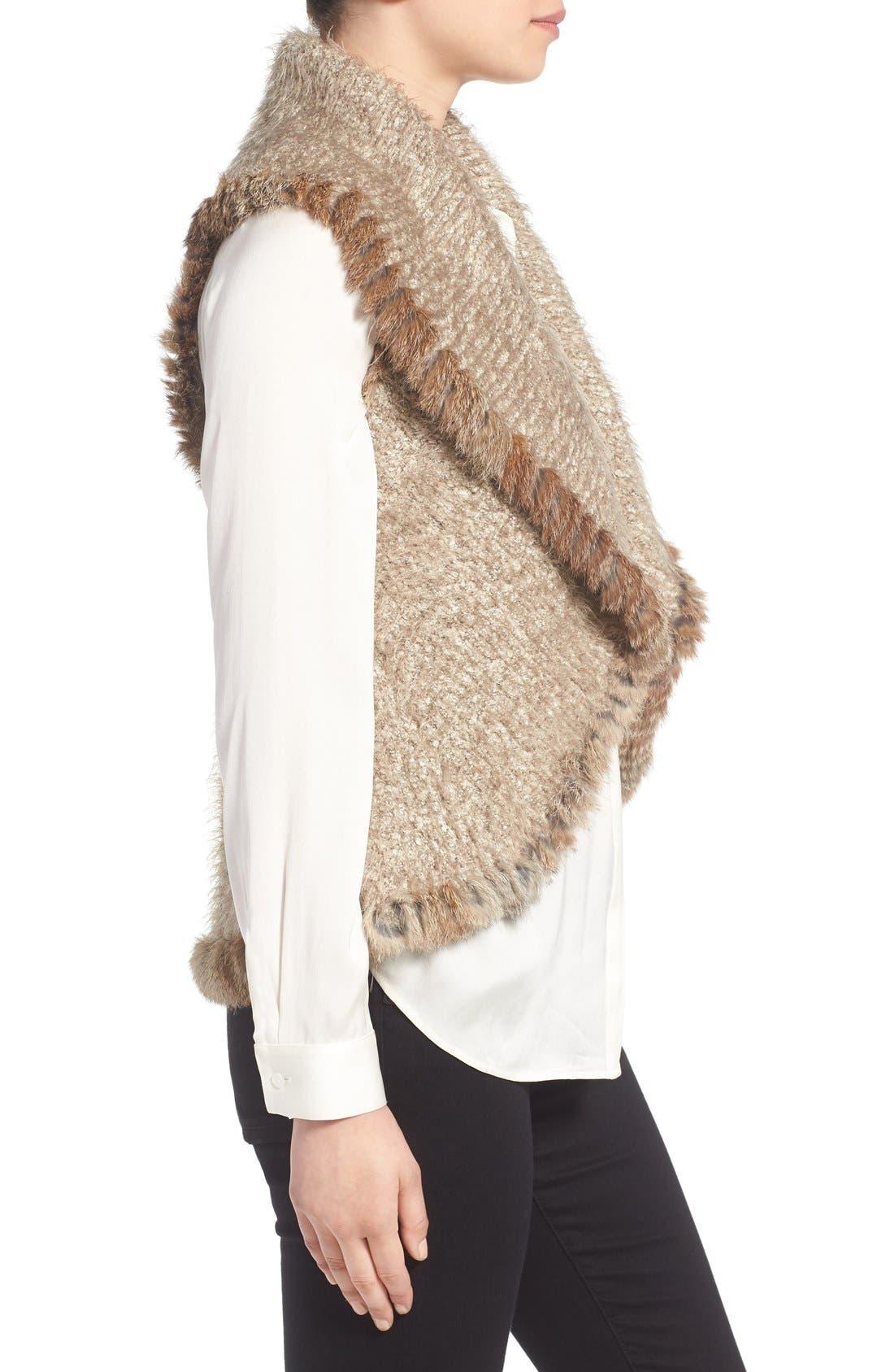 Alternate Image 3  - Love Token Knit Vest with Genuine Rabbit Fur Trim