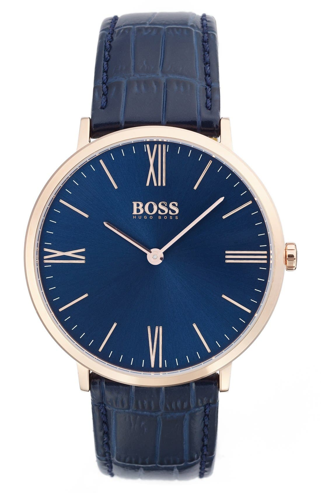 BOSS Ultra Slim Leather Strap Watch, 40mm,                         Main,                         color, Navy/ Navy