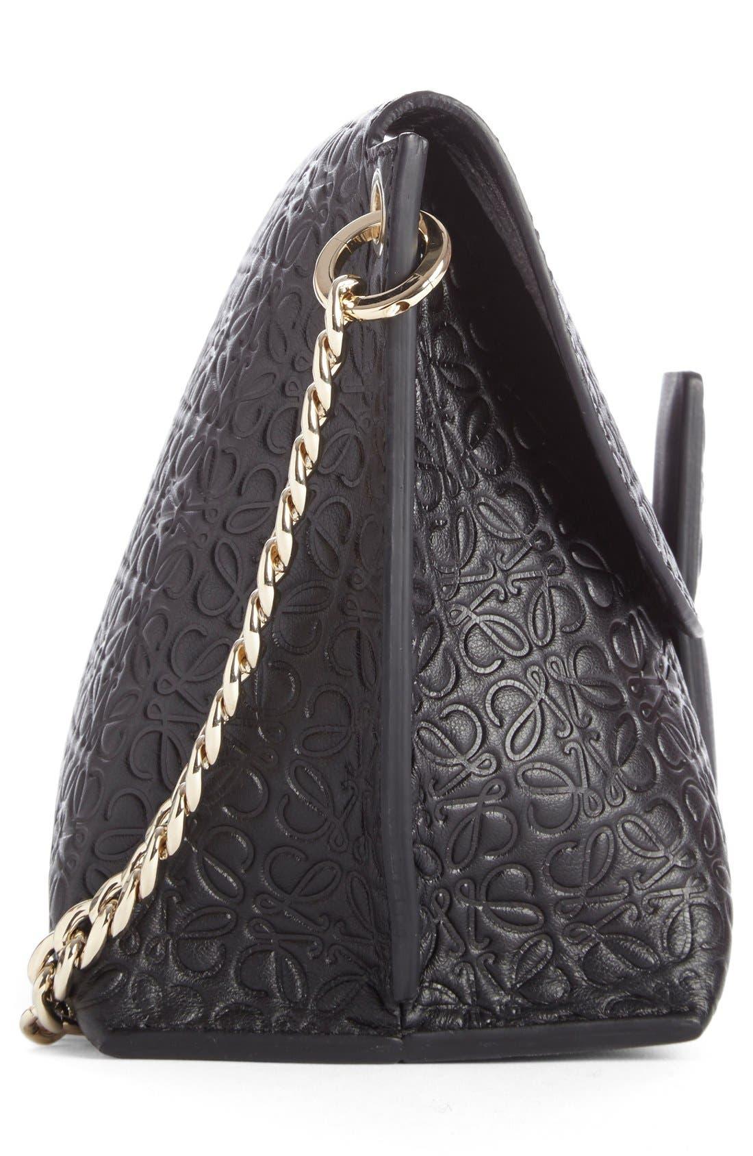 'Avenue' Embossed Calfskin Leather Crossbody Bag,                             Alternate thumbnail 3, color,                             Black