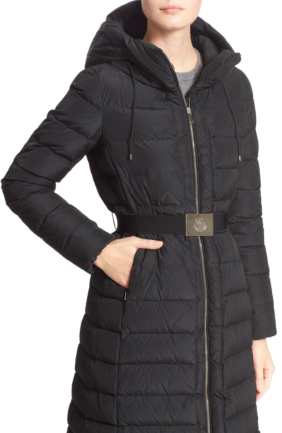'Imin' Water Resistant Belted Down Puffer Coat,                             Alternate thumbnail 7, color,                             Black