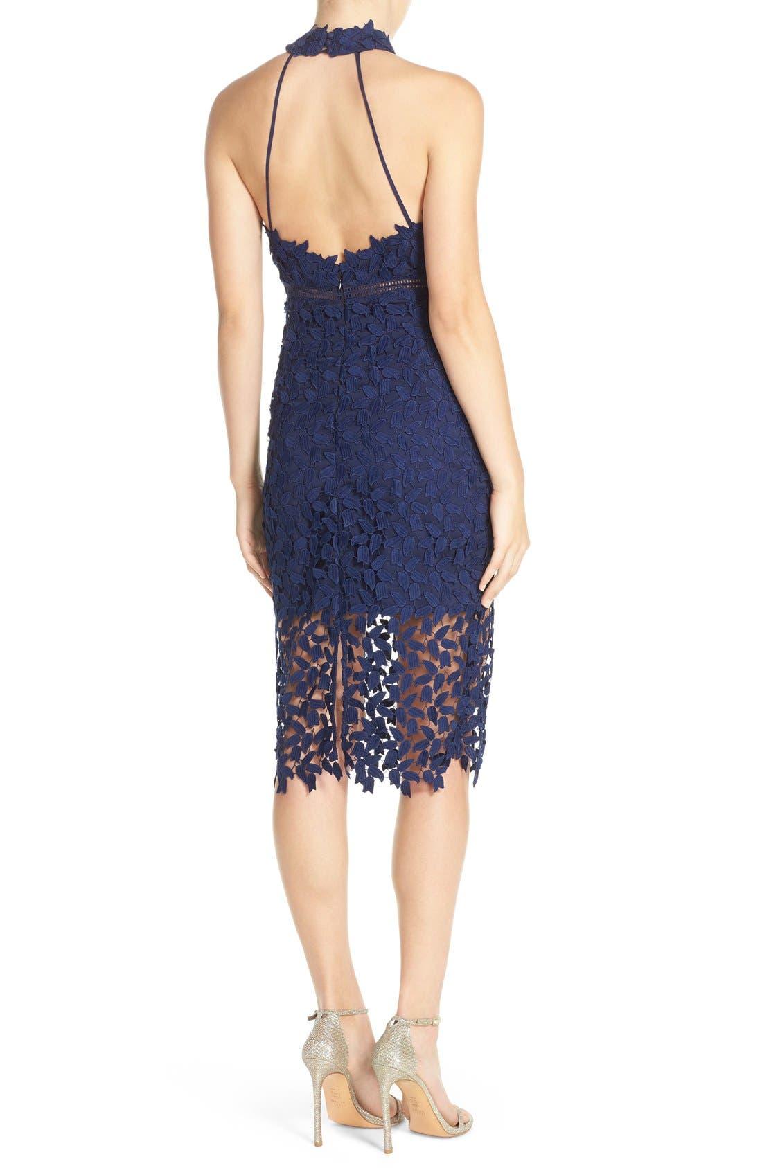 Gemma Halter Lace Sheath Dress,                             Alternate thumbnail 2, color,                             Blue Ink