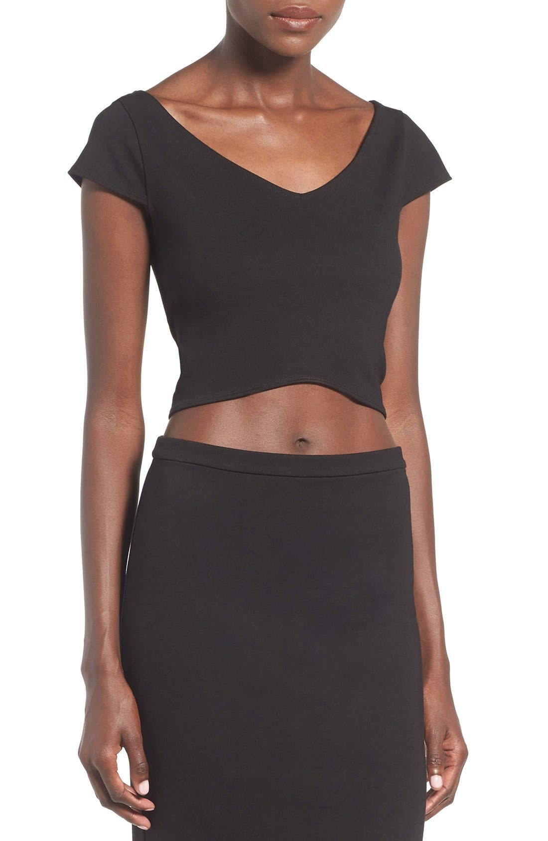 Alternate Image 1 Selected - Leith Curved Hem Crop Top