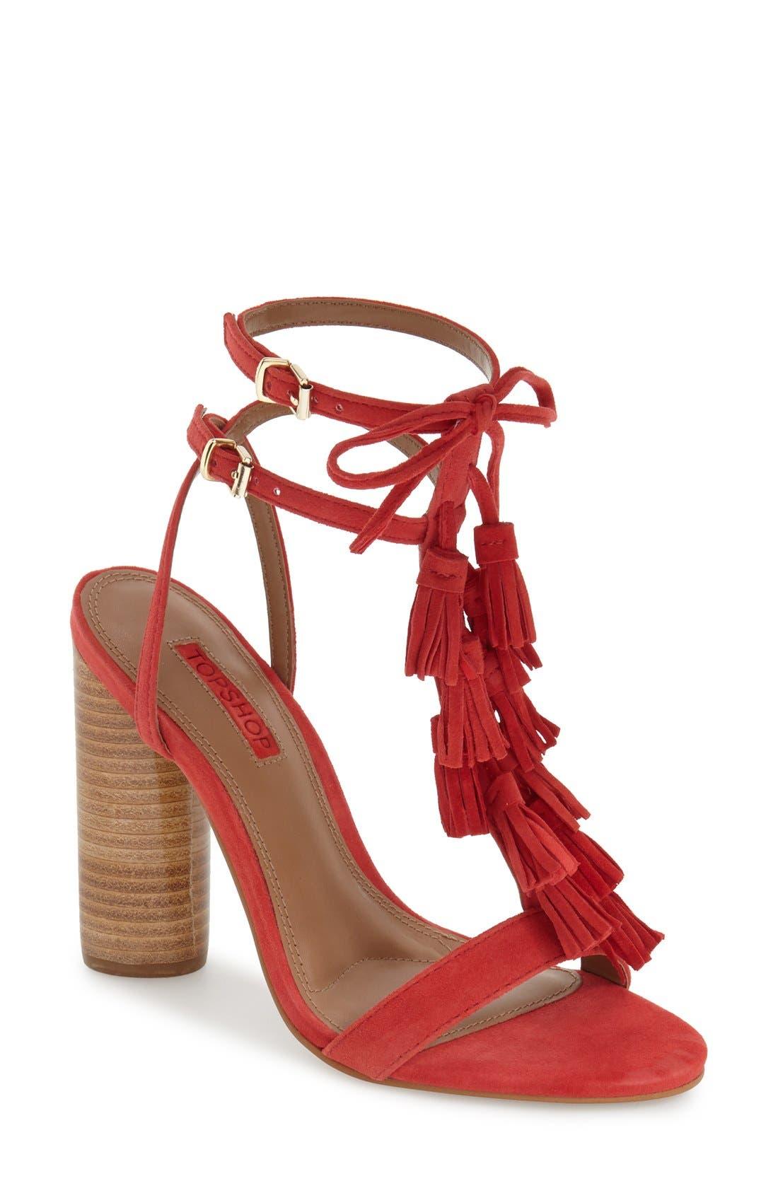 Main Image - Topshop 'Ripple' Tasseled Round Heel Sandal (Women)