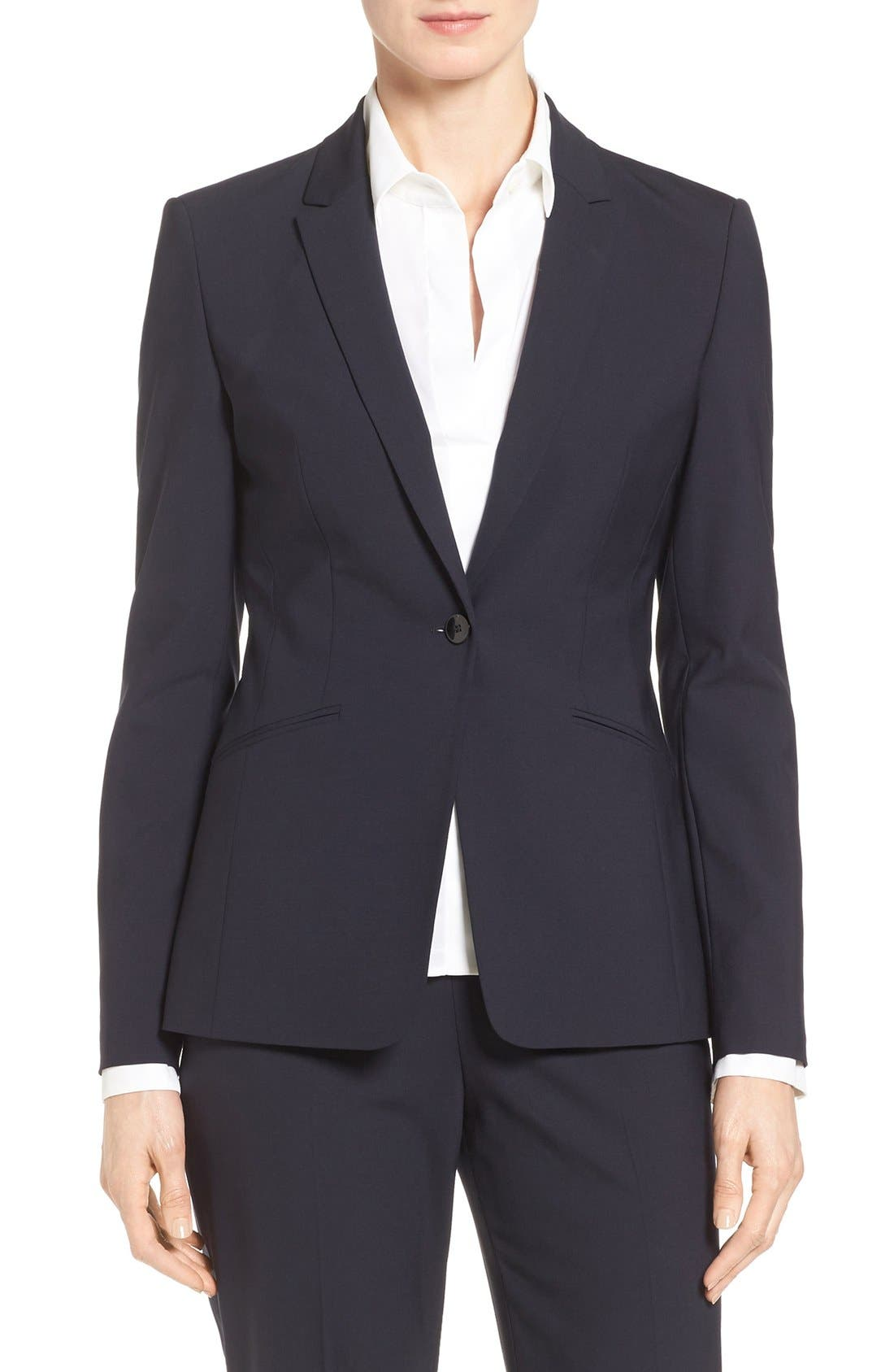 Main Image - BOSS 'Jabina' Stretch Wool Suit Jacket