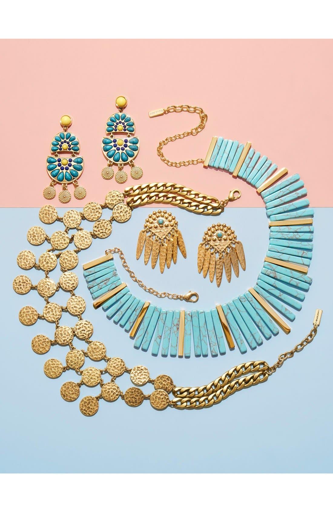 Stone Bib Necklace,                             Alternate thumbnail 4, color,                             Gold/ Turquoise