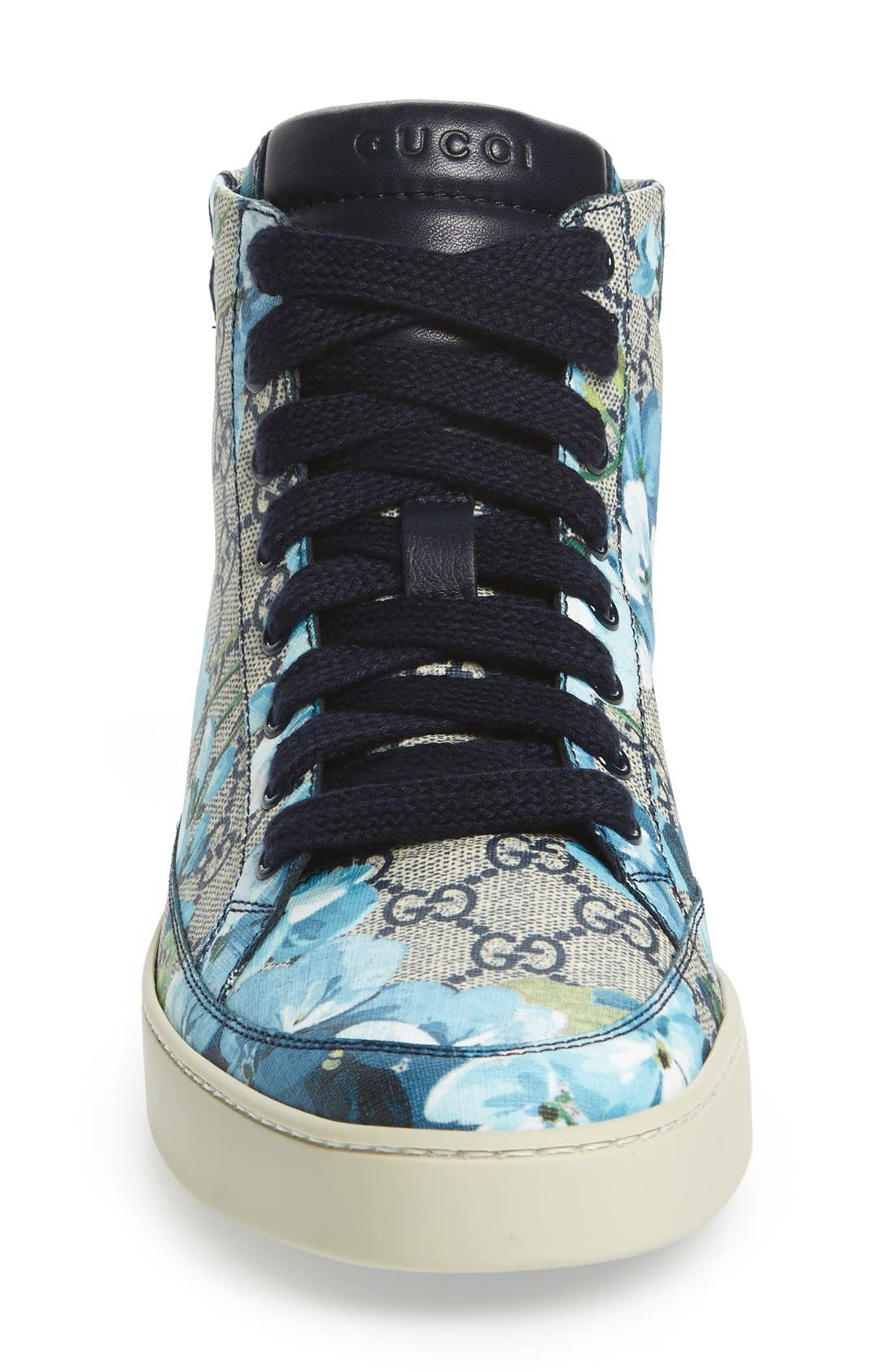 'Common' High Top Sneaker,                             Alternate thumbnail 3, color,                             Blue/ Beige Fabric/ Leather