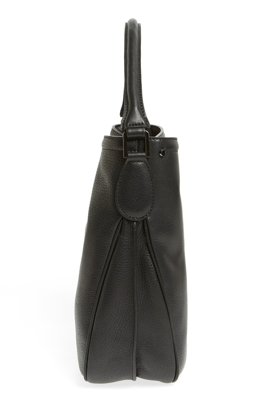 'Mystery' Leather Hobo,                             Alternate thumbnail 5, color,                             Black