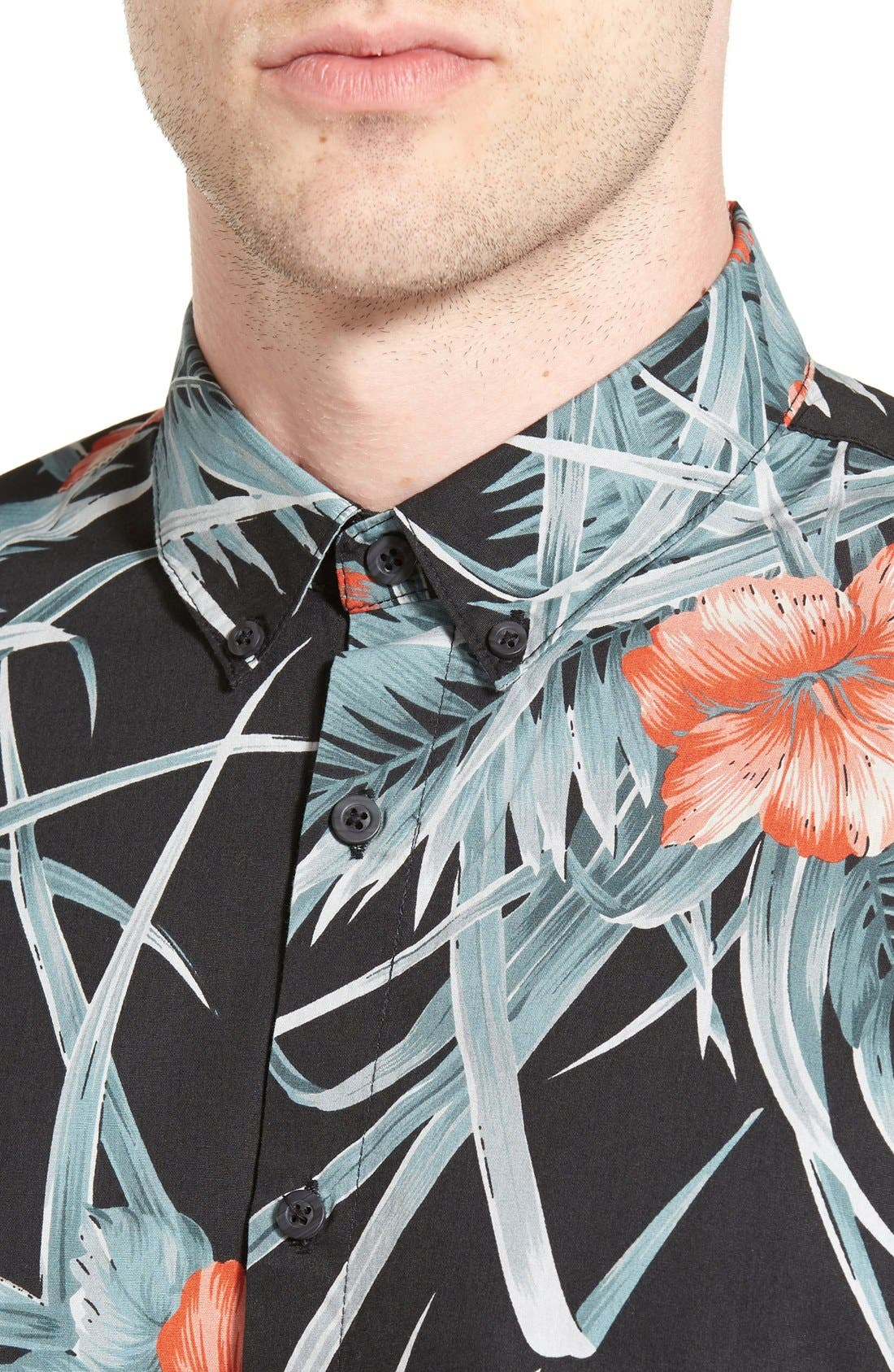 Alternate Image 4  - Barney Cools Trim Fit Floral Print Woven Shirt