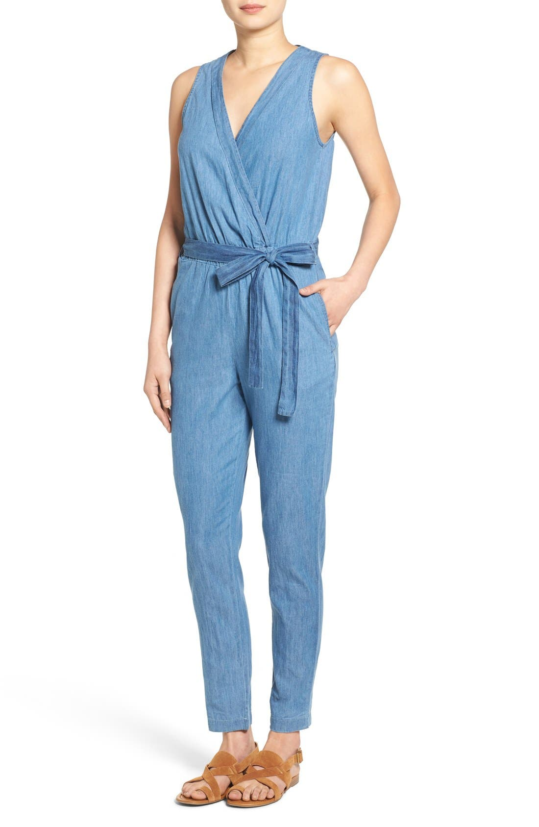 Alternate Image 1 Selected - Mimi Chica Surplice Chambray Jumpsuit