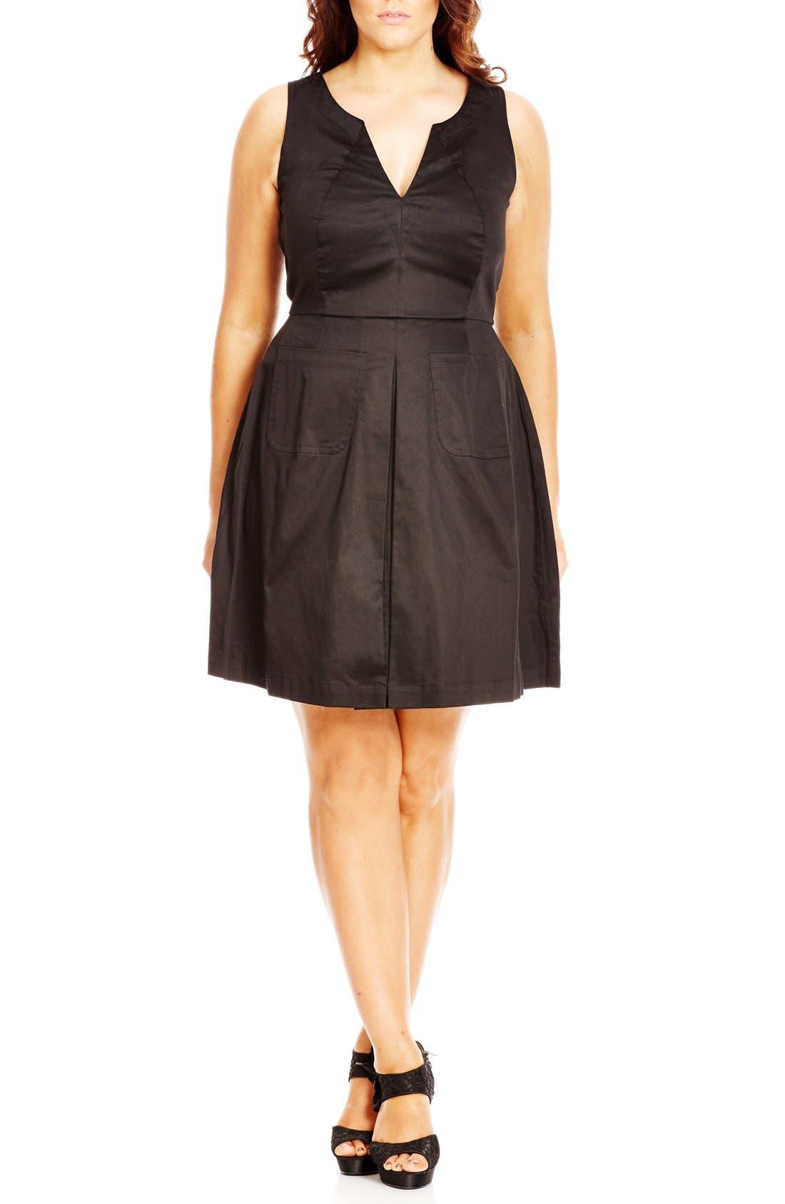 'Mod Madness' Notch Neck Fit & Flare Dress,                             Main thumbnail 1, color,                             Black