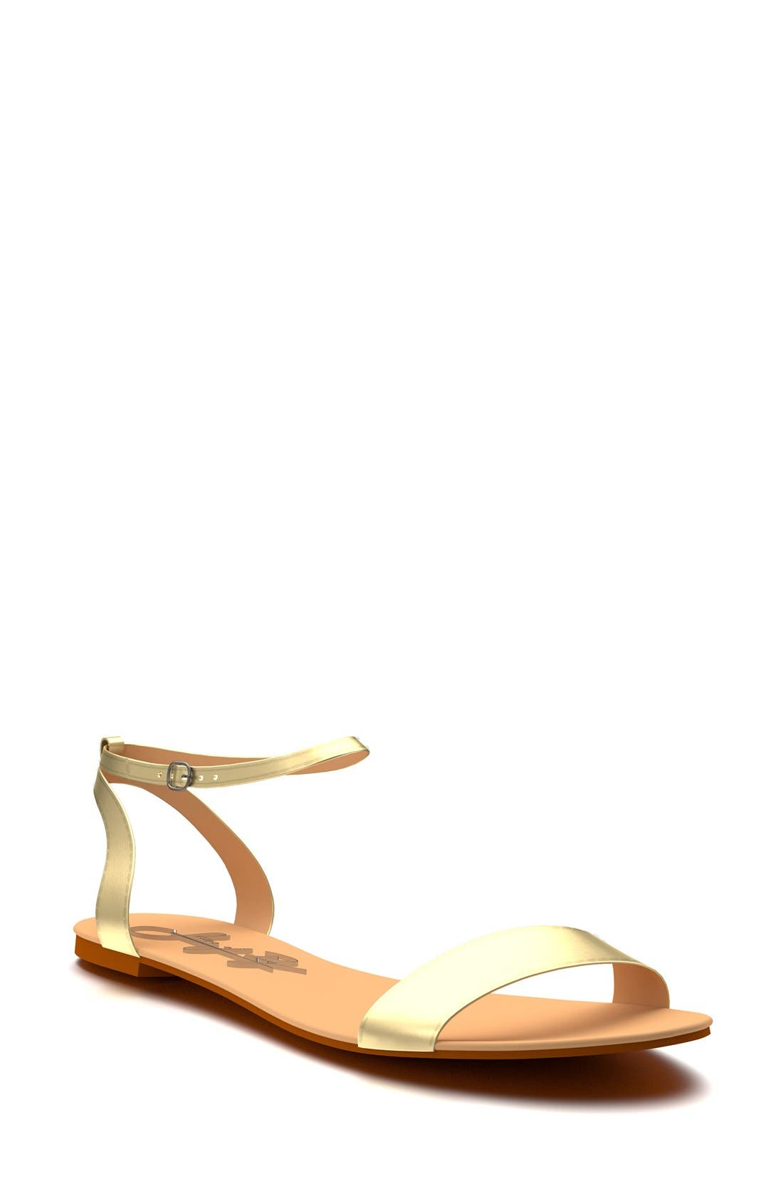 Metallic Ankle Strap Sandal,                             Main thumbnail 1, color,                             Gold Leather