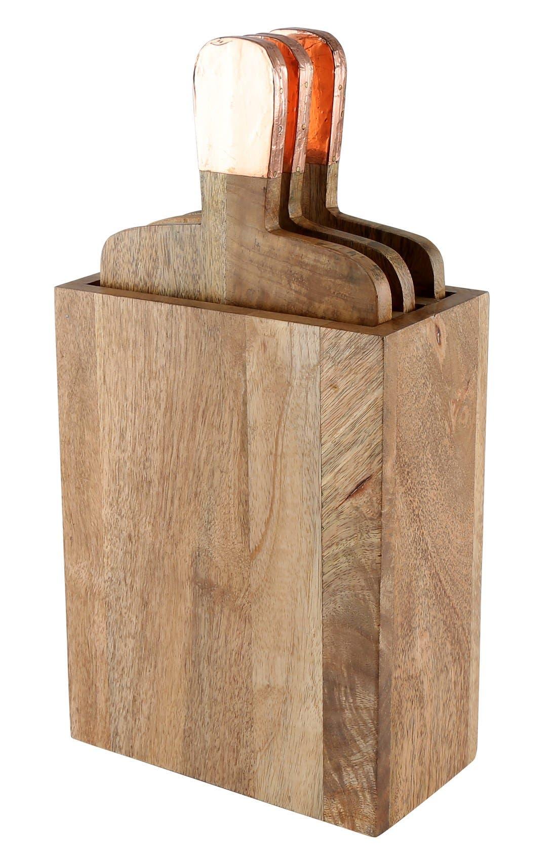 'Urban Farm' Mango Wood Serving Boards & Holder,                         Main,                         color, Copper