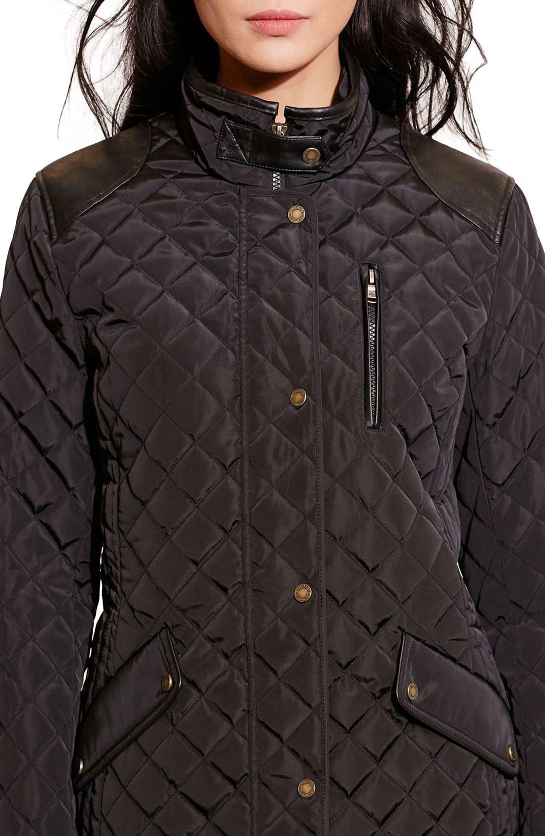 Alternate Image 3  - Lauren Ralph Lauren Diamond Quilted Jacket with Faux Leather Trim (Regular & Petite)