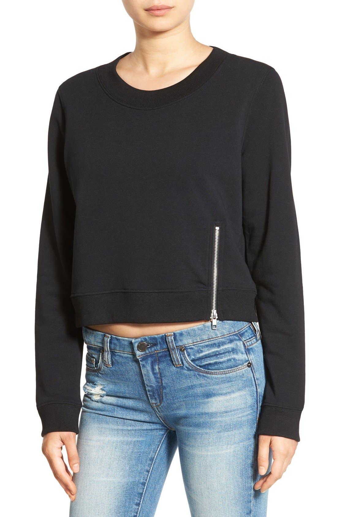 Alternate Image 1 Selected - Cheap Monday 'Exact' Zip Hem Sweatshirt
