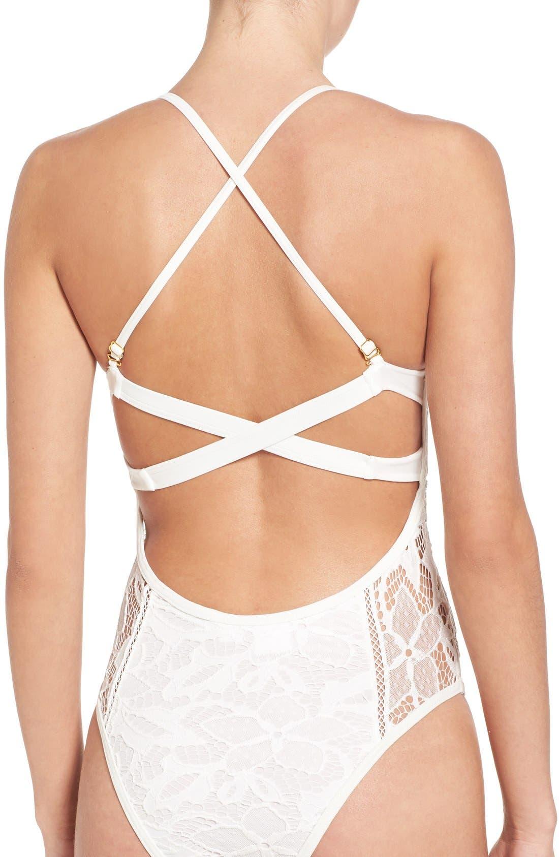 Alternate Image 4  - Somedays Lovin 'Coco' Lace One-Piece Swimsuit