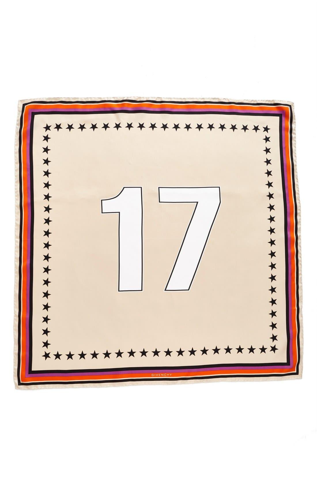 '17' Square Silk Scarf,                         Main,                         color, Poudre