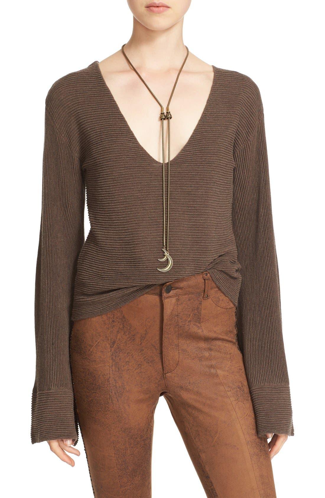 'Starman' Rib Knit Pullover,                         Main,                         color, Brown