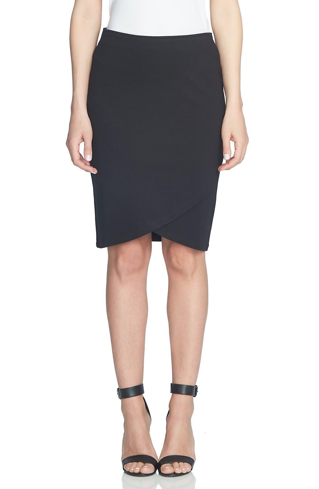 Ponte Faux Wrap Pencil Skirt,                         Main,                         color, Rich Black
