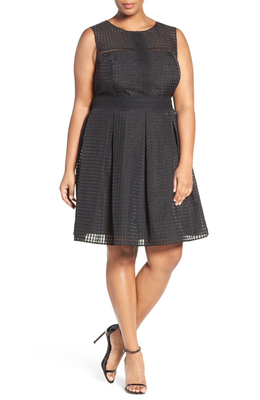 Windowpane Organdy Fit & Flare Dress,                             Alternate thumbnail 4, color,                             Black