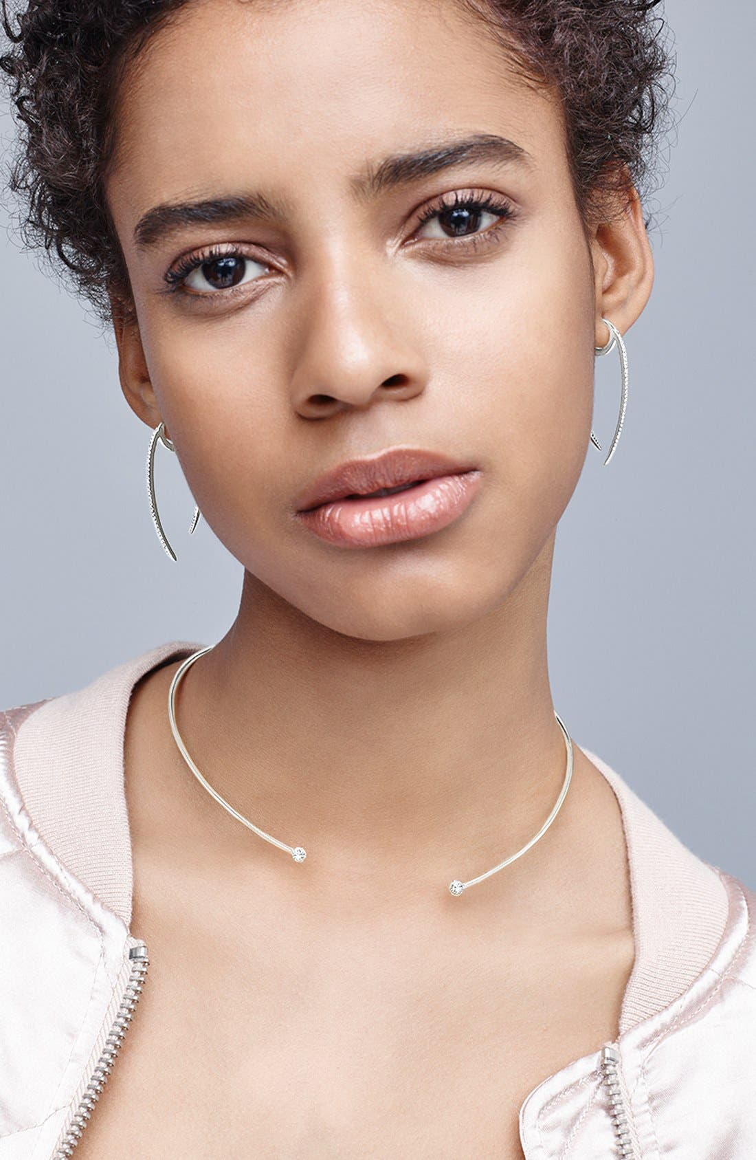 Alternate Image 2  - Nadri 'Crescent' Linear Hoop Earrings