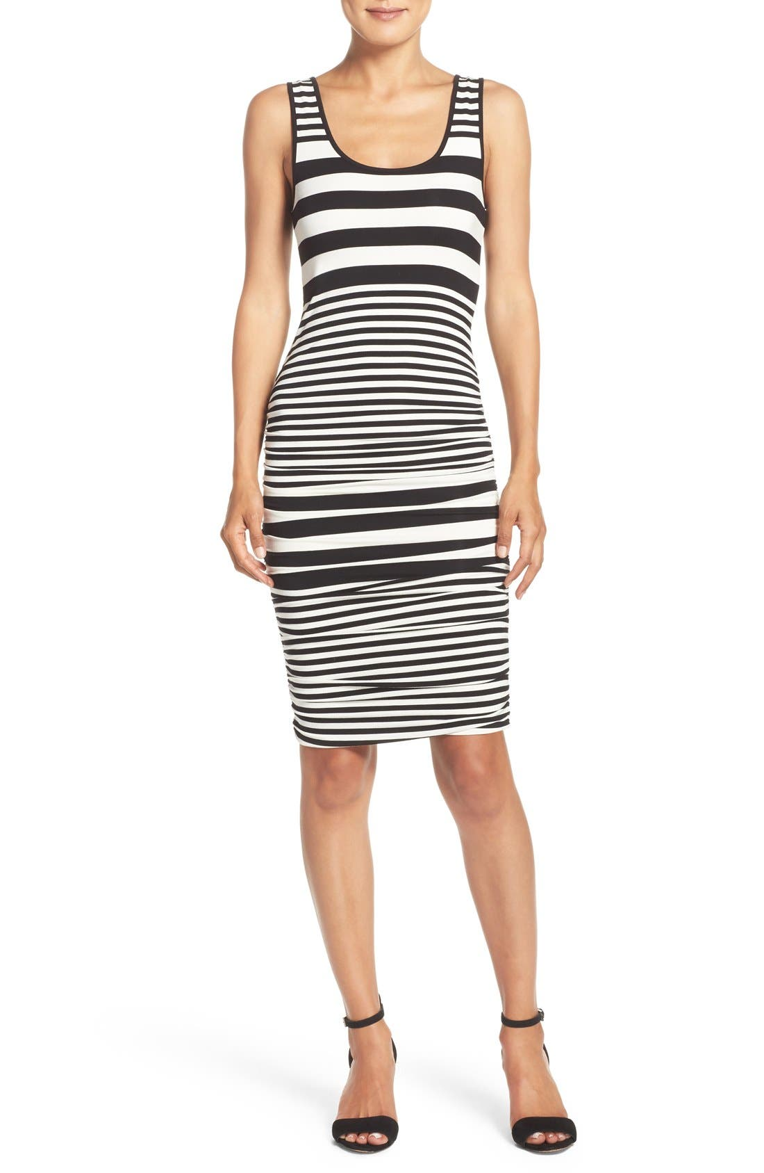 Stripe Ruched Jersey Tank Dress,                         Main,                         color, Black/ White