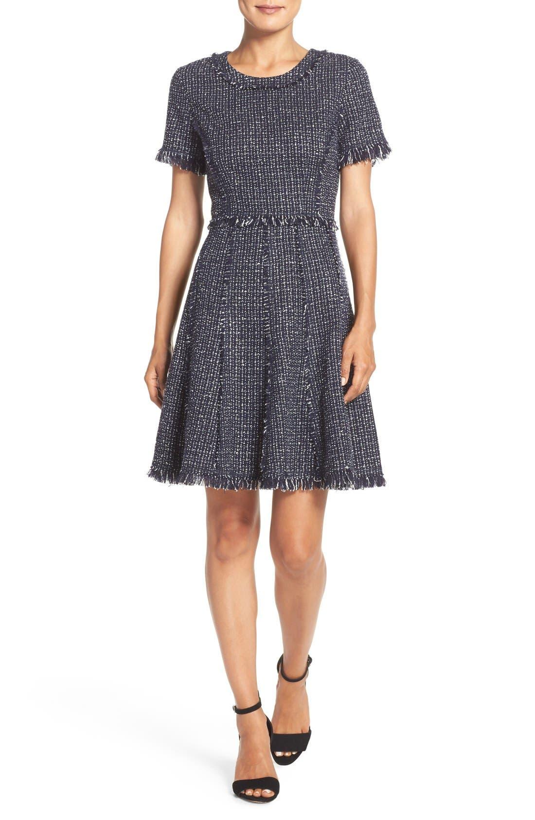 Tweed Fit & Flare Dress,                             Main thumbnail 1, color,                             Navy