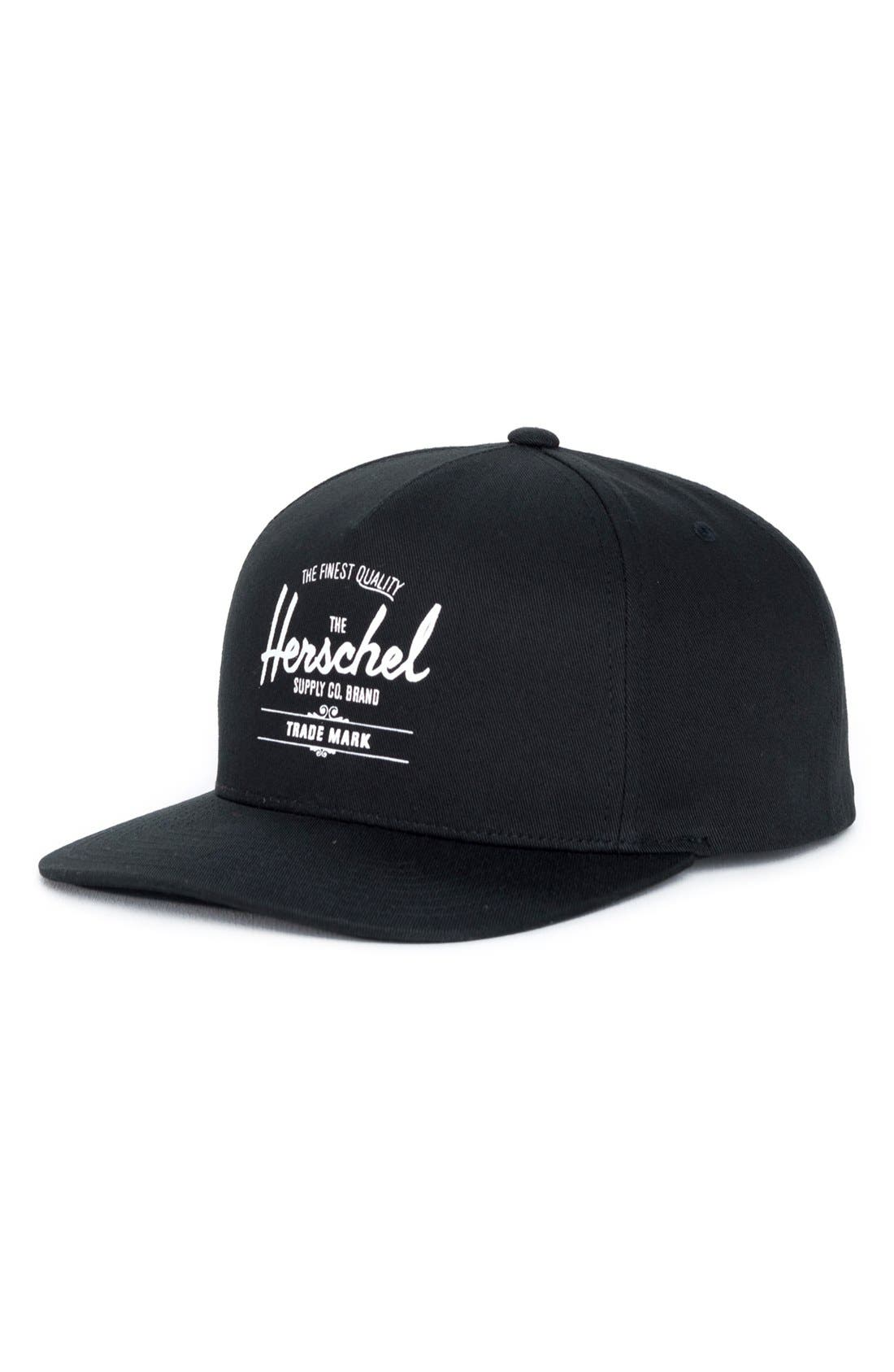 Whaler Snapback Baseball Cap,                             Main thumbnail 1, color,                             Black