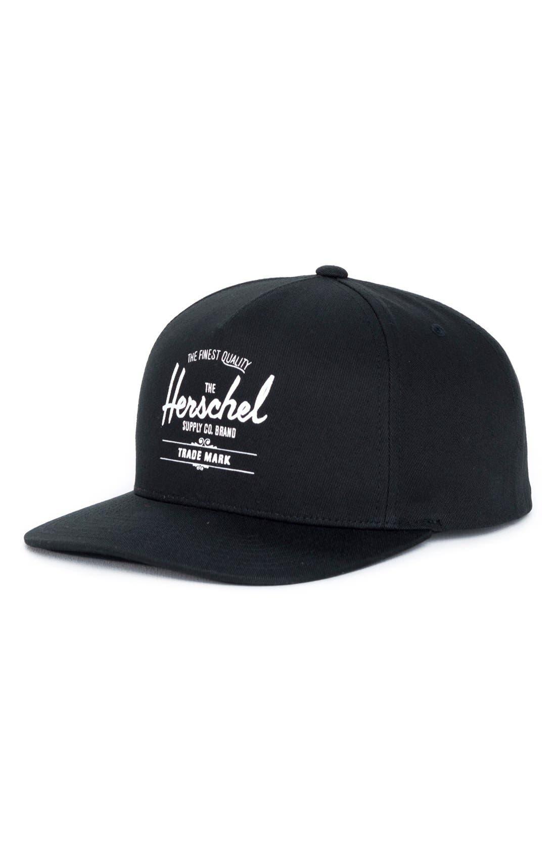 Whaler Snapback Baseball Cap,                         Main,                         color, Black