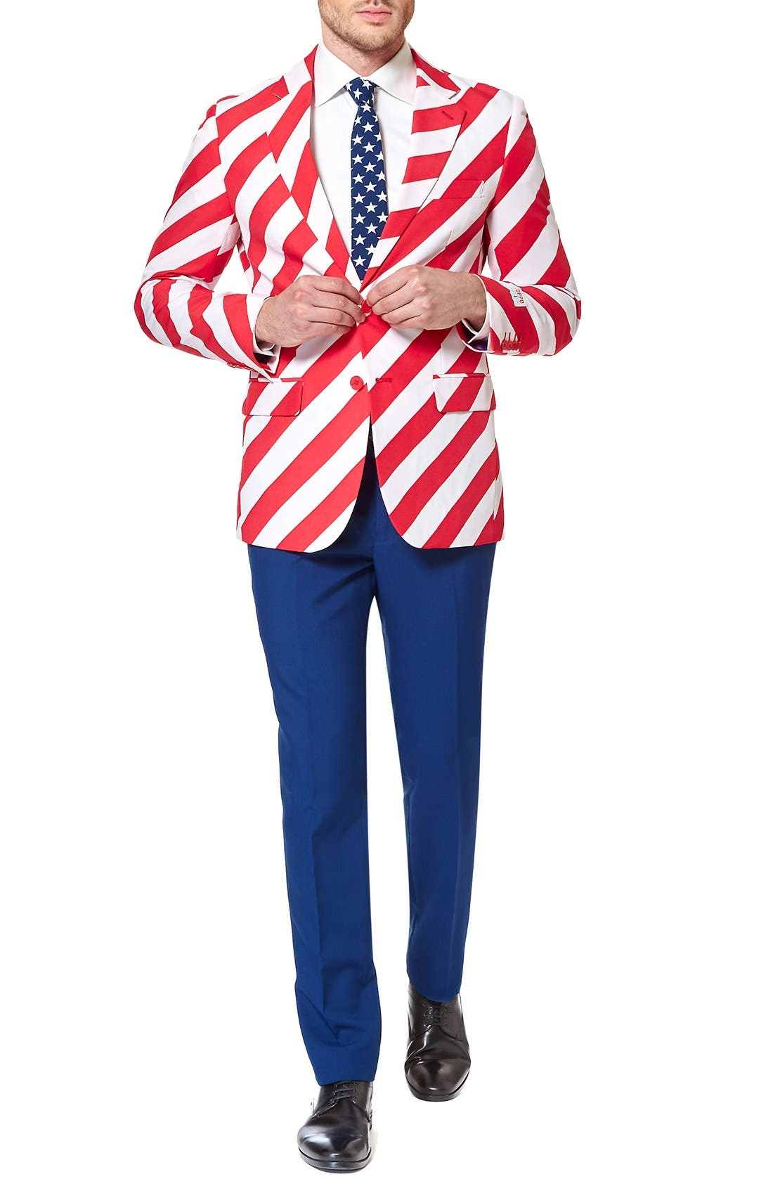 'United Stripes' Trim Fit Suit with Tie,                             Alternate thumbnail 4, color,                             Red/ Blue/ White