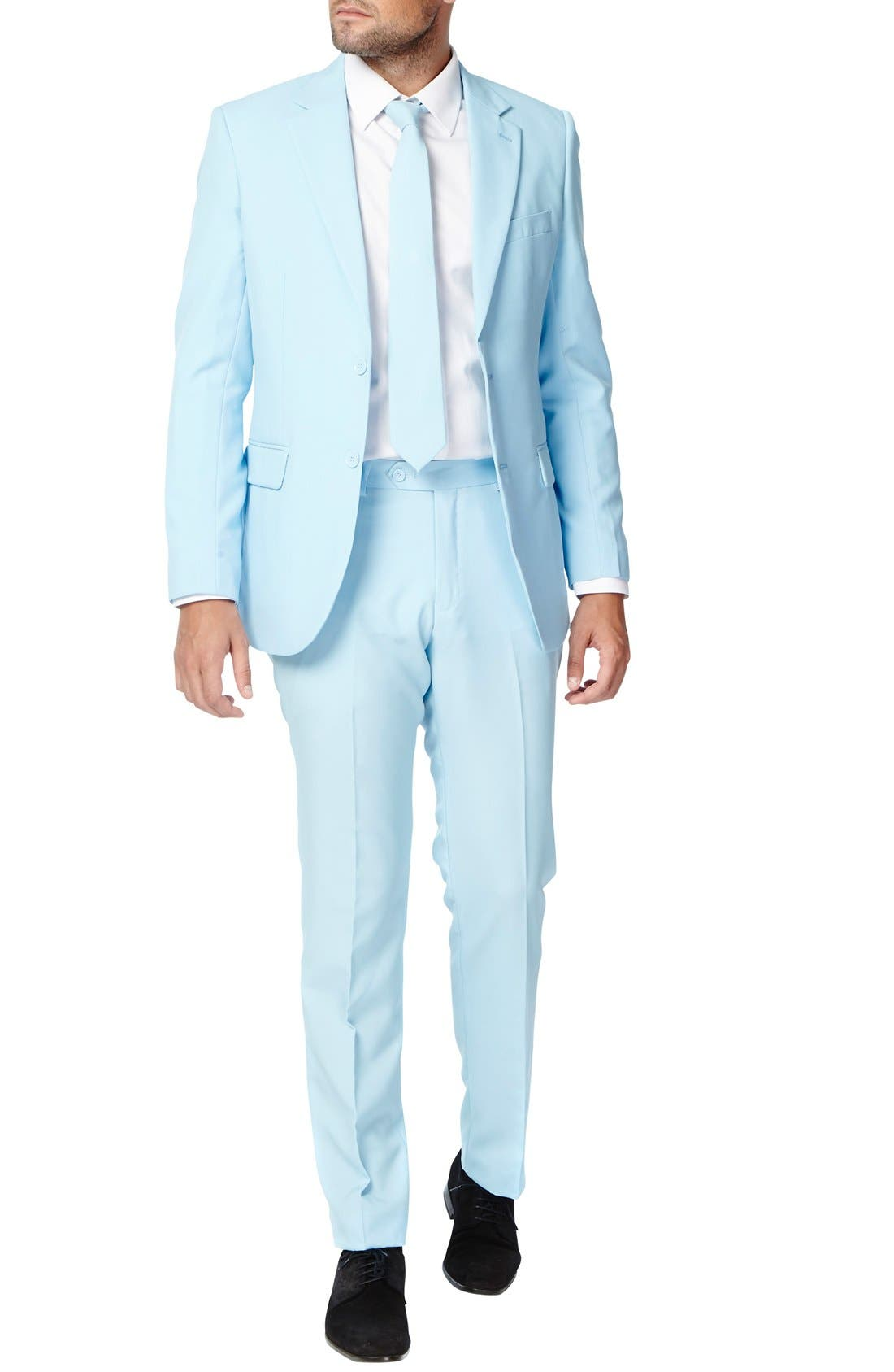 OppoSuits 'Cool Blue' Trim Fit Two-Piece Suit with Tie