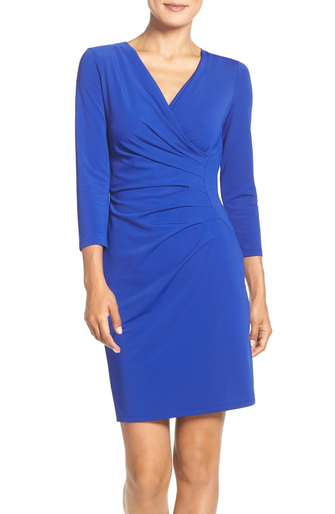 Main Image - Adrianna Papell Stretch Faux Wrap Dress (Regular & Petite)