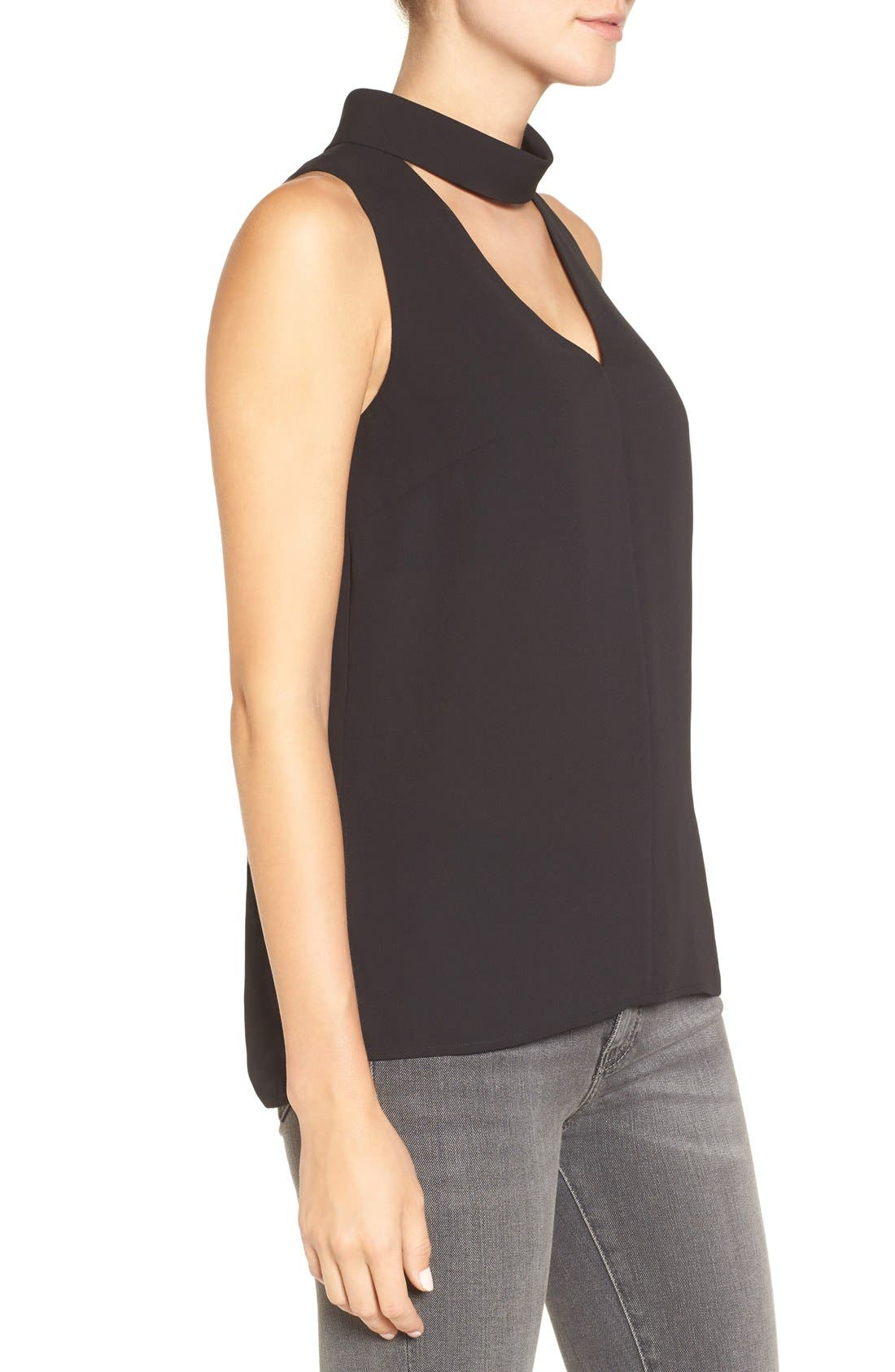 Choker Collar V-Neck Tank,                             Alternate thumbnail 3, color,                             Black
