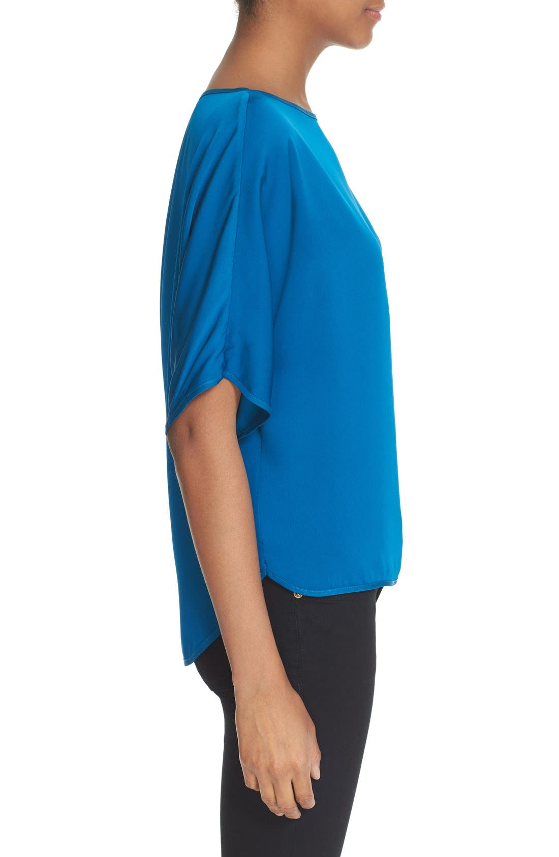 Alternate Image 3  - Milly Stretch Silk Bateau Tee
