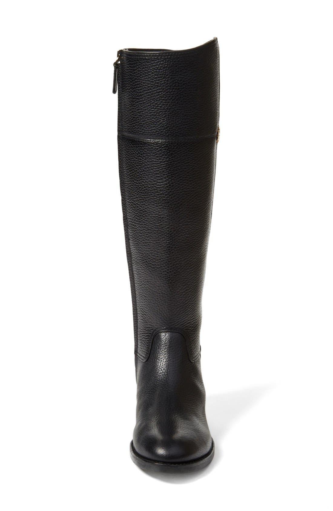 'Jolie' Riding Boot,                             Alternate thumbnail 3, color,                             Black Tumbled Leather