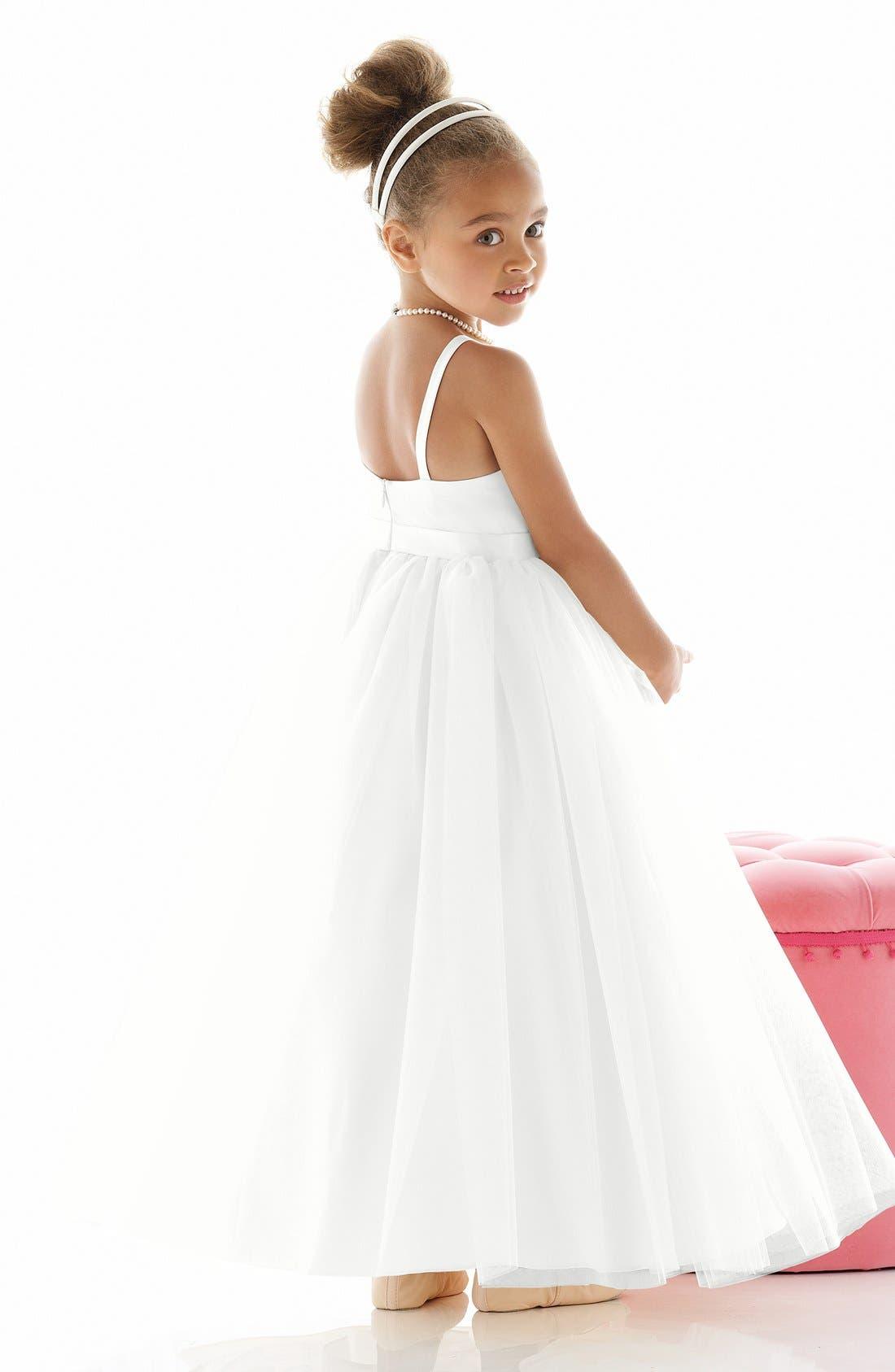 Alternate Image 2  - Dessy Collection 'Rose' Satin & Tulle Flower Girl Dress (Toddler, Little Girls & Big Girls)